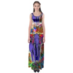 Abstract Elephant With Butterfly Ears Colorful Galaxy Empire Waist Maxi Dress