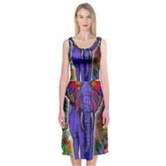 Abstract Elephant With Butterfly Ears Colorful Galaxy Midi Sleeveless Dress