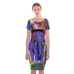 Abstract Elephant With Butterfly Ears Colorful Galaxy Classic Short Sleeve Midi Dress
