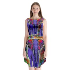 Abstract Elephant With Butterfly Ears Colorful Galaxy Sleeveless Chiffon Dress