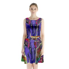 Abstract Elephant With Butterfly Ears Colorful Galaxy Sleeveless Chiffon Waist Tie Dress