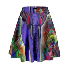 Abstract Elephant With Butterfly Ears Colorful Galaxy High Waist Skirt