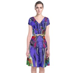 Abstract Elephant With Butterfly Ears Colorful Galaxy Short Sleeve Front Wrap Dress