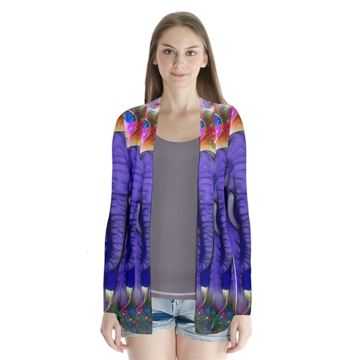 Abstract Elephant With Butterfly Ears Colorful Galaxy Cardigans