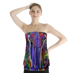 Abstract Elephant With Butterfly Ears Colorful Galaxy Strapless Top