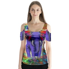 Abstract Elephant With Butterfly Ears Colorful Galaxy Butterfly Sleeve Cutout Tee