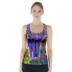 Abstract Elephant With Butterfly Ears Colorful Galaxy Racer Back Sports Top