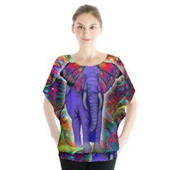 Abstract Elephant With Butterfly Ears Colorful Galaxy Blouse
