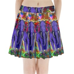 Abstract Elephant With Butterfly Ears Colorful Galaxy Pleated Mini Skirt