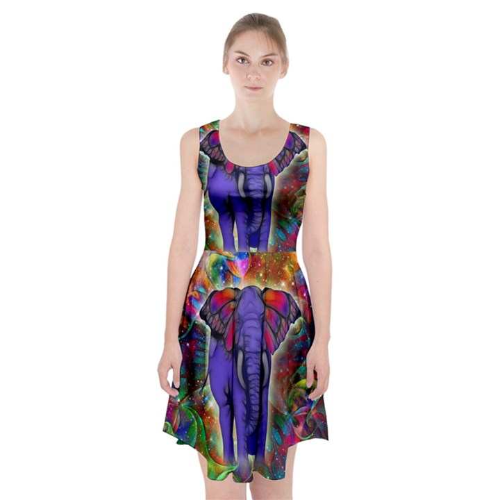 Abstract Elephant With Butterfly Ears Colorful Galaxy Racerback Midi Dress