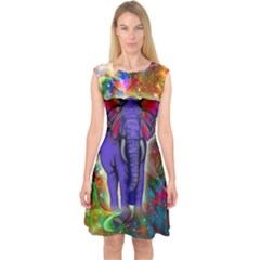 Abstract Elephant With Butterfly Ears Colorful Galaxy Capsleeve Midi Dress