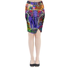 Abstract Elephant With Butterfly Ears Colorful Galaxy Midi Wrap Pencil Skirt