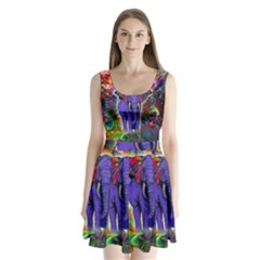 Abstract Elephant With Butterfly Ears Colorful Galaxy Split Back Mini Dress