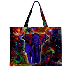 Abstract Elephant With Butterfly Ears Colorful Galaxy Medium Tote Bag