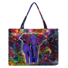Abstract Elephant With Butterfly Ears Colorful Galaxy Medium Zipper Tote Bag