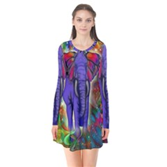 Abstract Elephant With Butterfly Ears Colorful Galaxy Flare Dress