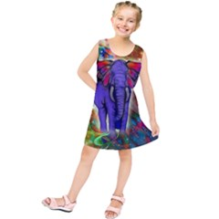 Abstract Elephant With Butterfly Ears Colorful Galaxy Kids  Tunic Dress