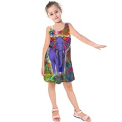 Abstract Elephant With Butterfly Ears Colorful Galaxy Kids  Sleeveless Dress