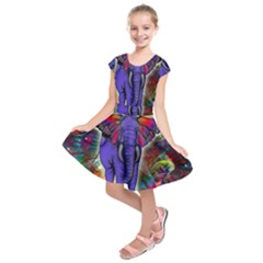 Abstract Elephant With Butterfly Ears Colorful Galaxy Kids  Short Sleeve Dress