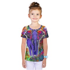 Abstract Elephant With Butterfly Ears Colorful Galaxy Kids  One Piece Tee