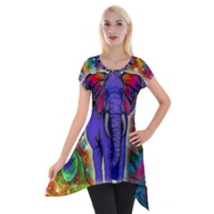 Abstract Elephant With Butterfly Ears Colorful Galaxy Short Sleeve Side Drop Tunic