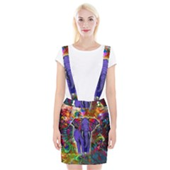 Abstract Elephant With Butterfly Ears Colorful Galaxy Suspender Skirt