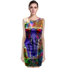 Abstract Elephant With Butterfly Ears Colorful Galaxy Sleeveless Velvet Midi Dress