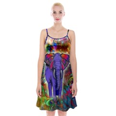 Abstract Elephant With Butterfly Ears Colorful Galaxy Spaghetti Strap Velvet Dress