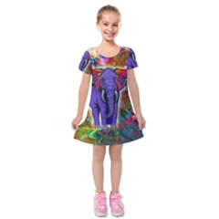 Abstract Elephant With Butterfly Ears Colorful Galaxy Kids  Short Sleeve Velvet Dress