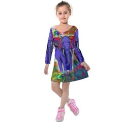 Abstract Elephant With Butterfly Ears Colorful Galaxy Kids  Long Sleeve Velvet Dress