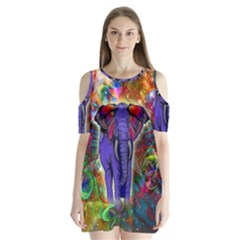 Abstract Elephant With Butterfly Ears Colorful Galaxy Shoulder Cutout Velvet  One Piece