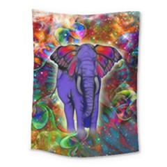 Abstract Elephant With Butterfly Ears Colorful Galaxy Medium Tapestry