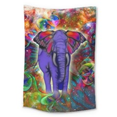 Abstract Elephant With Butterfly Ears Colorful Galaxy Large Tapestry