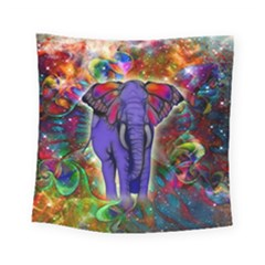 Abstract Elephant With Butterfly Ears Colorful Galaxy Square Tapestry (small)