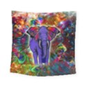 Abstract Elephant With Butterfly Ears Colorful Galaxy Square Tapestry (Small) View1