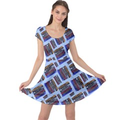 Abstract Pattern Seamless Artwork Cap Sleeve Dresses