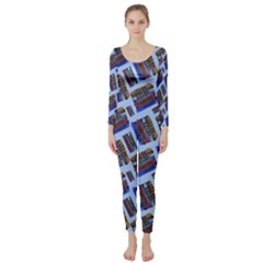 Abstract Pattern Seamless Artwork Long Sleeve Catsuit