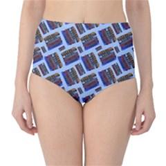 Abstract Pattern Seamless Artwork High Waist Bikini Bottoms