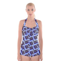 Abstract Pattern Seamless Artwork Boyleg Halter Swimsuit