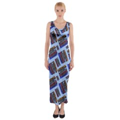 Abstract Pattern Seamless Artwork Fitted Maxi Dress