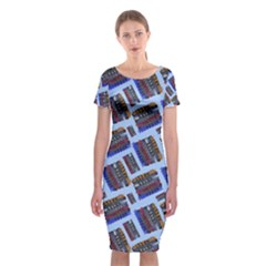 Abstract Pattern Seamless Artwork Classic Short Sleeve Midi Dress