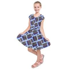 Abstract Pattern Seamless Artwork Kids  Short Sleeve Dress