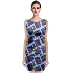Abstract Pattern Seamless Artwork Sleeveless Velvet Midi Dress