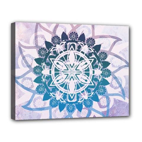 Mandalas Symmetry Meditation Round Canvas 14  X 11