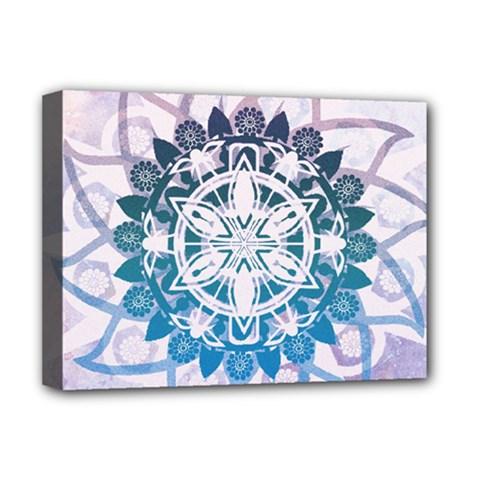 Mandalas Symmetry Meditation Round Deluxe Canvas 16  x 12