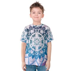 Mandalas Symmetry Meditation Round Kids  Cotton Tee