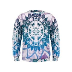 Mandalas Symmetry Meditation Round Kids  Sweatshirt