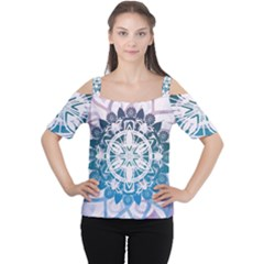 Mandalas Symmetry Meditation Round Women s Cutout Shoulder Tee