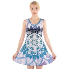 Mandalas Symmetry Meditation Round V Neck Sleeveless Skater Dress