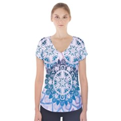 Mandalas Symmetry Meditation Round Short Sleeve Front Detail Top